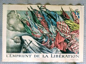 WW1 Allied Forces 'French' Liberation Bonds Poster C1918