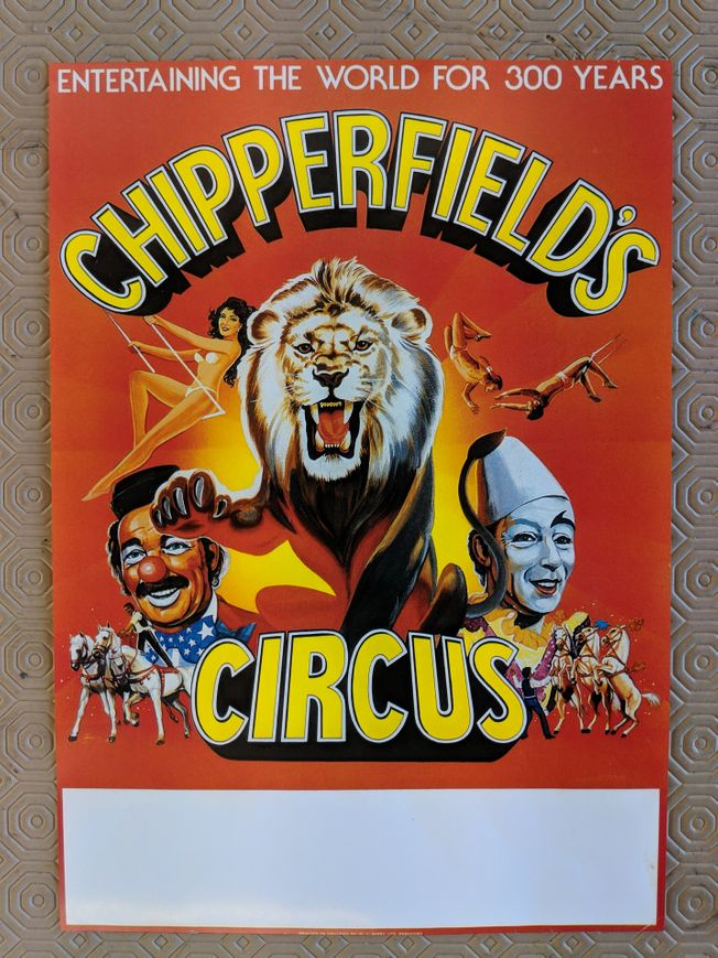 Rare Chipperfields Circus A4 poster 1990's
