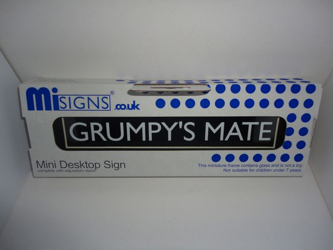 Misigns 'Grumpy's Mate' mini desk top frame