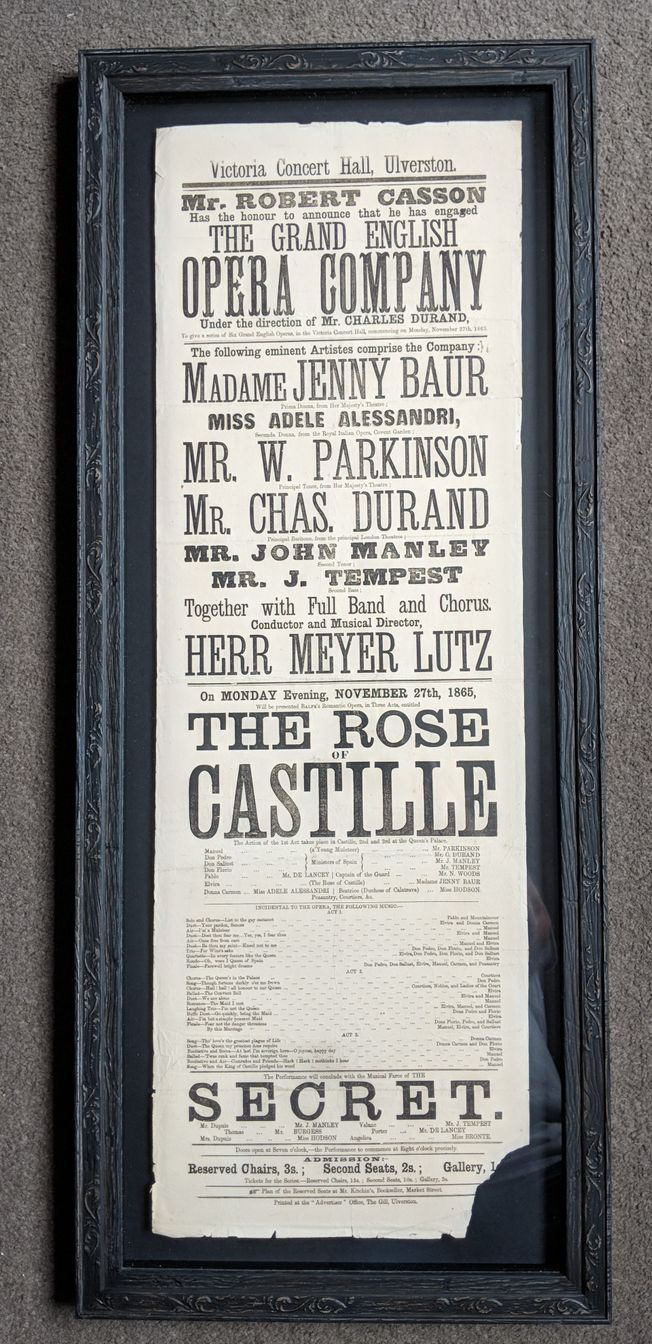 'The Rose of Castille' 19th Century Original Operatic Poster