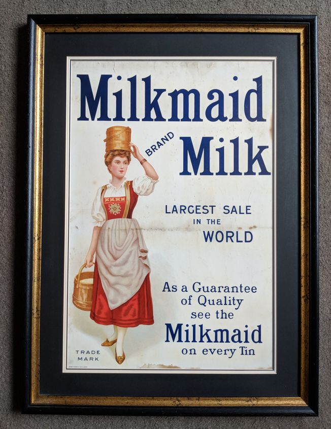 'Milkmaid Milk' large Chromo-litho showcard