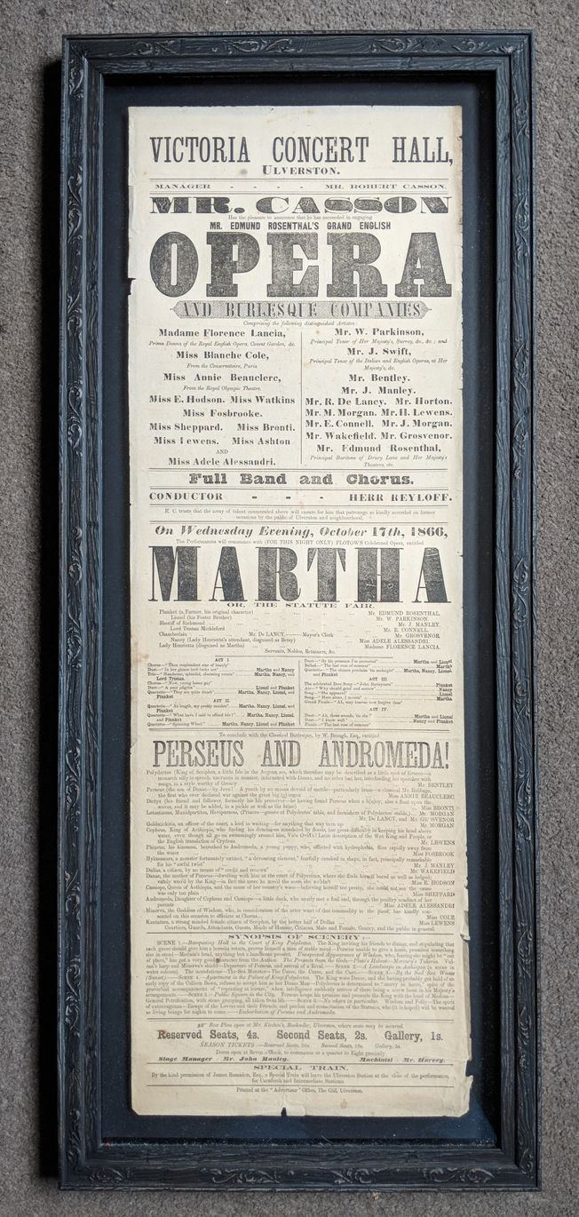 'Martha' Original 19th Century Operatic Poster