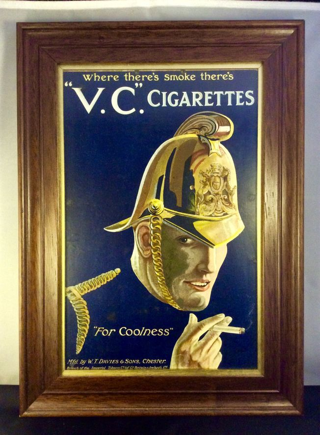 V. C. Cigarettes. Early 20th Century Original Showcard